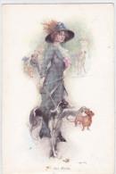 CARD  DONNINA ELEGANTE  CANI BASSOTTI LEVRIERO FIRMATA M.M.VIENNE M.MUNK N.578      -FP-VDB-2-  0882-20475 - Chiens