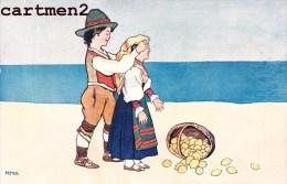 BELLE SERIE DE 6 CPA ILLUSTREE ENFANTS COUPLE PLAGE PECHEUR ITALIE ESPAGNE ? SICILE ? ESPANA ITALIA HUMOUR BOY AND GIRL - Illustratori & Fotografie