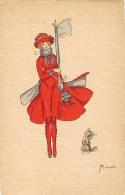 ILLUSTRATEUR MIARKO AQUARELLE GOUACHE FEMME DRAPEAU ANGLAIS ENGLISH FLAG MODE CHIEN - Non Classificati