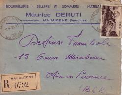 VAUCLUSE - MALAUCENE 28-11-1951 - LETTRE RECOMMANDEE ENTETE BOURRELLERIE-SELLERIE-SOMMIERS MAURICE DERUTI MALAUCENE - Marcophilie (Lettres)