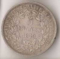 FRANCE  5  FRANCS  1849  ARGENT - France
