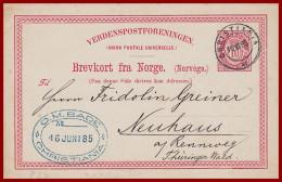 Norwegen Ganzsache Aus Christiania Von 1885 - Postal Stationery