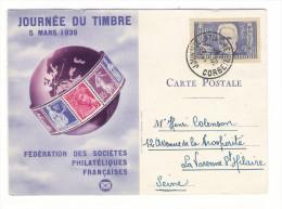 """JOURNEE  DU  TIMBRE  ( 5  MARS  1939 ) /  Timbre  """" VICTOR  HUGO """" + Cachet  De  CORBEIL-ESSONNE - Timbres (représentations)"""