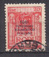 COLONIE ITALIANE EGEO 1931 CONGRESSO EUCARISTICO SASS. 32 USATO VF - Egeo