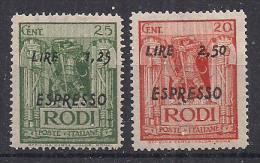 COLONIE ITALIANE 1944 ESPRESSI  OCCUPAZIONETEDESCA DELL'EGEO SASS. 5-6 MNH XF - Vari