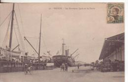 2-Asia-altri-Saigon-Indocina Francese-Indochine Française-French Indochina-France-Navi-Porti-Navires-Ports-Ships - Cartoline