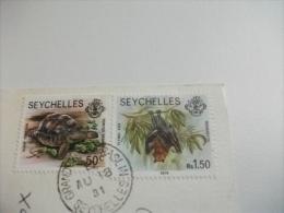STORIA POSTALE FRANCOBOLLO COMMEMORATIVO Tartaruga Pipistrello  Seychelles Intendance Mahe - Seychelles