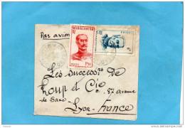 MARCOPHILIE- Lettre-petite Enveloppe Artisanale  Avion  MADAGASCAR-départ1951 Cachet -KANDREHO -pour France- - Madagascar (1889-1960)