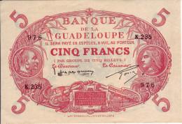 BANQUE DE LA GUADELOUPE - 5 Francs Cabasson - - France