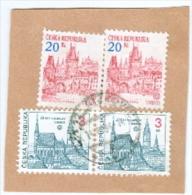 Tschechische Republik M. 14 Paar Cesky Krumlov + Mi. 2x 18 Prag Briefstück - Tschechische Republik