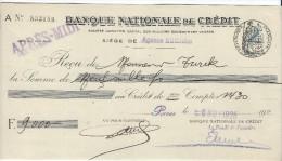 Banque Nationale De Crédit  / Agence BOURSE/Récépissé De Dépôt/ Monsieur Turck/ 1926    BA2 - Bank & Insurance