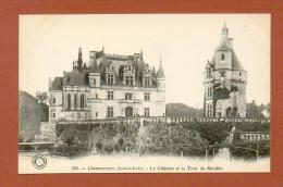 CPA  FRANCE  37  -  CHENONCEAUX  -  153  Le Château Et La Tour Du Moulin  ( Dos Simple Grand Bazar Tours ) - Chenonceaux