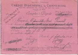 Crédit Industriel Et Commercial/Récépissé De Dépôt/ Mademoiselle Rose Primard/ 1918 BA5 - Bank & Insurance