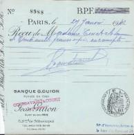 Banque G. GUION / Paris / Récépissé De Dépôt D'espéces Sur Compte  / Madame Turck/ 1943   BA7 - Bank & Insurance