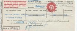 Cie Du Soleil/Assurances Contre L'Incendie/ Récépissé De Paiement De Prime Annuelle/ Monsieur Langlois/ Evreux/1952  BA8 - Bank & Insurance