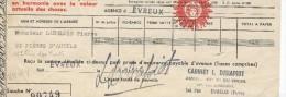 Cie Du Soleil/Assurances Contre L´Incendie/ Récépissé De Paiement De Prime Annuelle/ Monsieur Langlois/ Evreux/1954  BA9 - Bank & Insurance