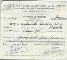 Société Française De Banque Et De Dépôts:Succursale De Bruxelles/ Mademoiselle Adéle Couture /1934    BA11 - Bank & Insurance