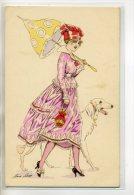 """ILLUSTRATEUR SAGER 'Footing Parisien """" Elegante Femme Et  Son Beau Chien 1910 Carte Rare    /D16 -2013 - Sager, Xavier"""