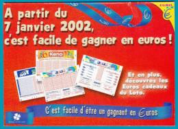 FDJ FRANCAISE DES JEUX PLV MAILING 13,7X9,8cm C'EST FACILE DE GAGNER EN EUROS 6 FEUILLES LOTERIE NATIONALE GRATTAGE... - Advertising