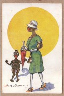 ILLUSTRATEUR CH. BOIRAU - AFRIQUE - LES BIENFAITS DE LA CIVILISATION - JEUNE FEMME NOIRE - PARAPLUIE - éditeur Prudent - Andere Zeichner