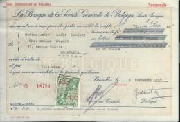 La Banque De La Société Générale De Belgique/ Mademoiselle Adéle Couture/Bruxelles /1937    BA14 - Bank & Insurance