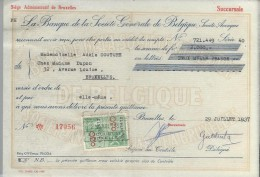 La Banque De La Société Générale De Belgique/ Mademoiselle Adéle Couture/Bruxelles /1937    BA15 - Bank & Insurance