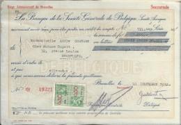 La Banque De La Société Générale De Belgique/ Mademoiselle Adéle Couture/Bruxelles /1937    BA16 - Bank & Insurance