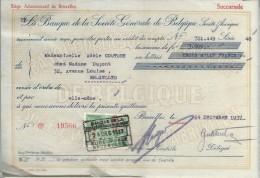 La Banque De La Société Générale De Belgique/ Mademoiselle Adéle Couture/Bruxelles /1937    BA17 - Bank & Insurance
