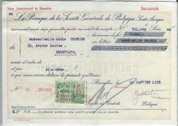 La Banque De La Société Générale De Belgique/ Mademoiselle Adéle Couture/Bruxelles /1937    BA18 - Bank & Insurance