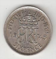 Great Britain 6 Pence 1945  Km 852  Xf+ - 1902-1971 : Monete Post-Vittoriane