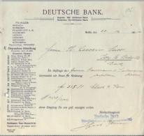 Deutsche Bank/BERLIN /Allemagne/Ordre De Virement / Baumann & Sulmann/Lecoeur /Ivry La Bataille 1905    BA21 - Bank & Insurance