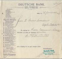 Deutsche Bank/BERLIN /Allemagne/Ordre De Virement / Baumann & Sulmann/Lecoeur /Ivry La Bataille 1907    BA22 - Bank & Insurance