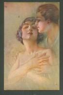 ITALY  EROTIC  ART, FANCY LADY  WITH  GUY, SIGNED  ZU,  OLD POSTCARD, 0 - Illustratori & Fotografie