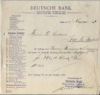 Deutsche Bank/BERLIN /Allemagne/Ordre De Virement / Baumann & Sulmann/Lecoeur /Ivry La Bataille 1904    BA23 - Bank & Insurance