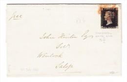 SG #1 - One Penny Black  Auf Brief 20.7.1840 Nach Salop - Briefe U. Dokumente
