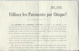 Utilisez Les Paiements Par Chéque/ CCI  D'Evreux / Circulaire/ / 1925   BA27 - Bank & Insurance
