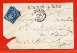 FRANCE N°14e SUR LILAS SUR LETTRE DE 1862 D U CATEAU POUR DOUAI - 1849-1876: Periodo Clásico
