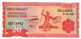 Burundi 20 Francs 2001 Pick 27d  UNC - Burundi
