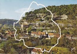 CPSM DEPARTEMENT CONTOUR GEOGRAPHIQUE LES EYZIES DORDOGNE  SITE YVON - Maps