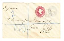R-Ganzsache Mit 2 Und 21/2 Pence Von London 26.7.1898 Nach Lima Peru Mit AK-Stempel - Briefe U. Dokumente