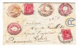 R-Ganzsache 1905 Mit Zusatzfrankatur Von Colchester Nach Galatz Rumänien - 1902-1951 (Könige)