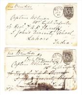 2 Brief An Captain Von Bath 30.1.1880 Nach Lahore India - Verschiedene Stempeln - 1840-1901 (Victoria)