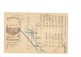 9379 - Carte Postale  Fabrique De Chocolat Suchard Neuchâtel  Clarens 25.04.1896 - Ganzsachen