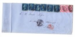 Brief Von London Nach Paris 18.11.1866 Mit 6 X 2 Pence Und 2 X 3Pence Frankiert - Briefe U. Dokumente
