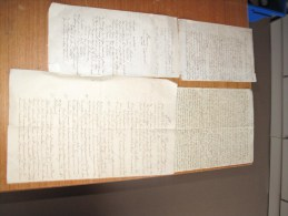 4 DOCUMENTS (lettres Poemes) Manuscrit XIXe Siècle -