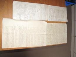 4 DOCUMENTS (lettres Poemes) Manuscrit XIXe Siècle - - Autographes