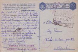 F M Ufficio Propaganda Assistenza E Consulenza-- Piacenza 4 1 1943 - Correo Militar (PM)