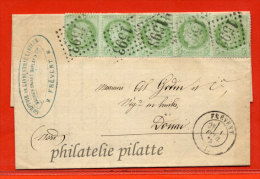 FRANCE N°53 BANDE DE 5 SUR LETTRE DE 1875 DE FREVENT POUR DOUAI - 1849-1876: Période Classique
