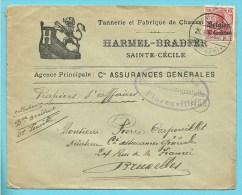 """Lettre TP Germania Cachet SAINTE-CECILE - Censure FLORENVILLE - Entete """"CHAUSSURES """" - [OC1/25] General Gov."""
