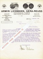 "Brief 1921 GERA-Reuss - ARMIN LIEBMANN - Accordeon-fabrik - Marken : ""Excelsior"",""Star"" Und ""Sans-Pareil"" - Non Classés"
